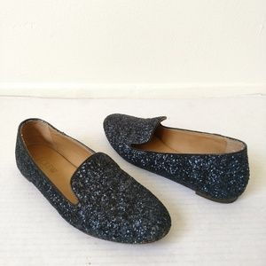 J crew blue glitter loafers in size 6.5
